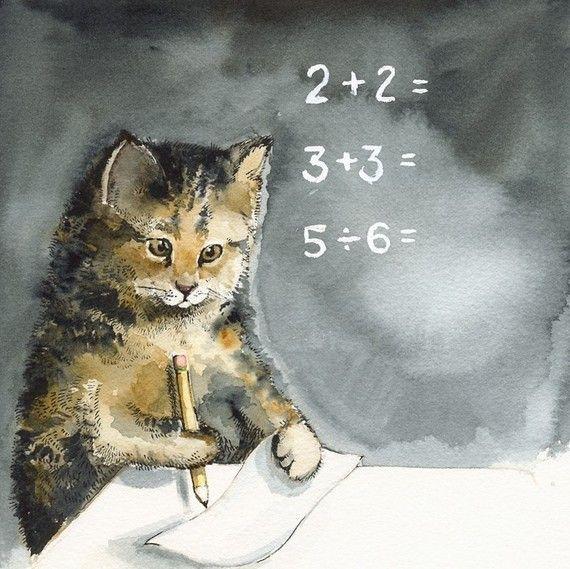 MATH  Print of original cat watercolor painting - teacher student by amberalexander, $20.00