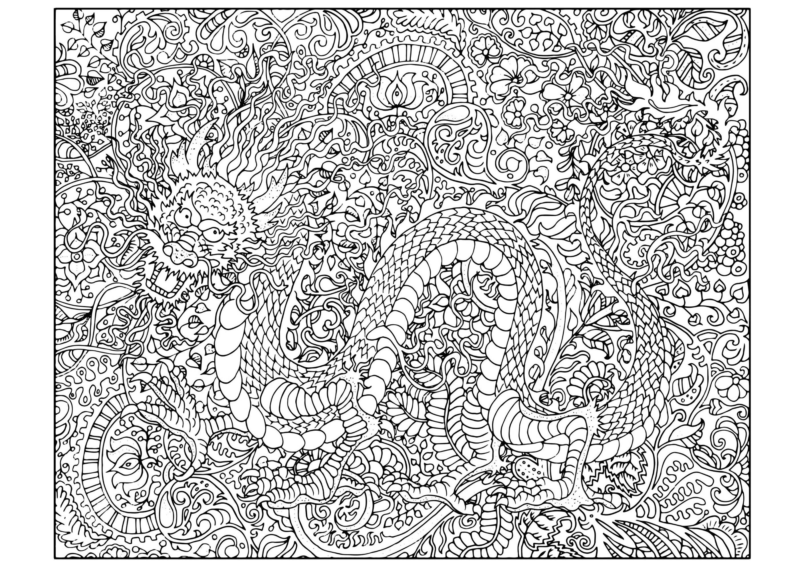 Full Dragon In A Complex Coloring Page With Background Full Of Details And Pa Dragon Coloring Page Christmas Coloring Pages Printable Christmas Coloring Pages