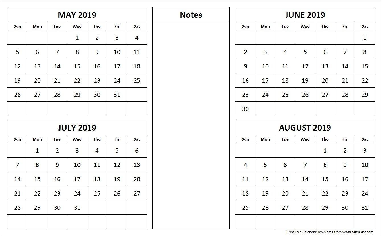 May June July August 2019 Calendar - 4 Month Calendar