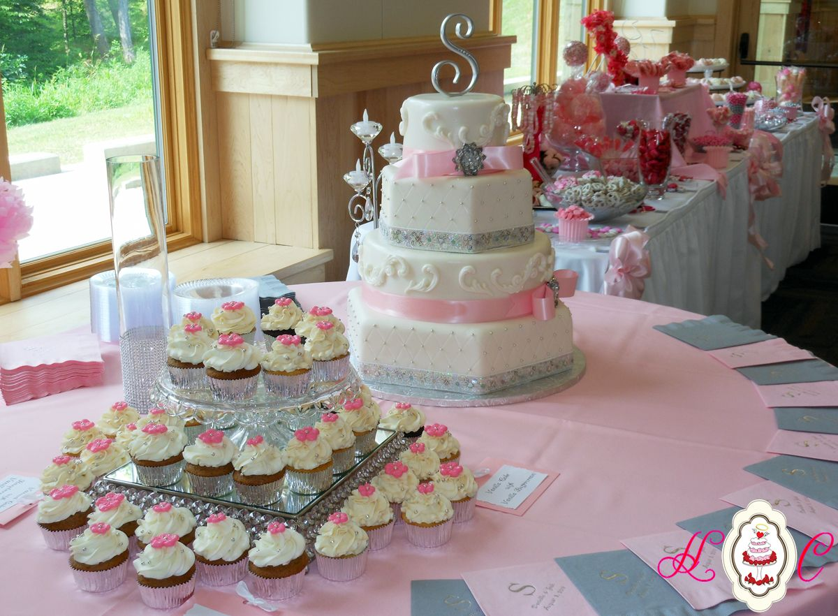 Pink White And Silver Wedding Cupcakes Bill Levkoff Capri Blue Cake With Soft Ivory