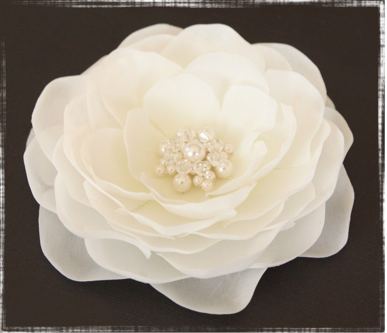Diamond White Whimsical Hair Flower Flor Con Brillantes Para El