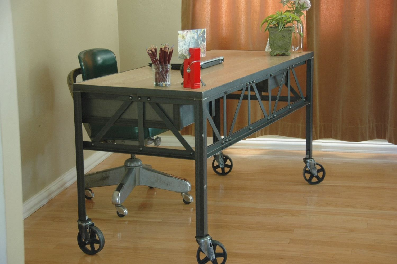 Royston French Industrial Desk On Casters / Vintage Work Table / Office  Furniture. $2,100.00,
