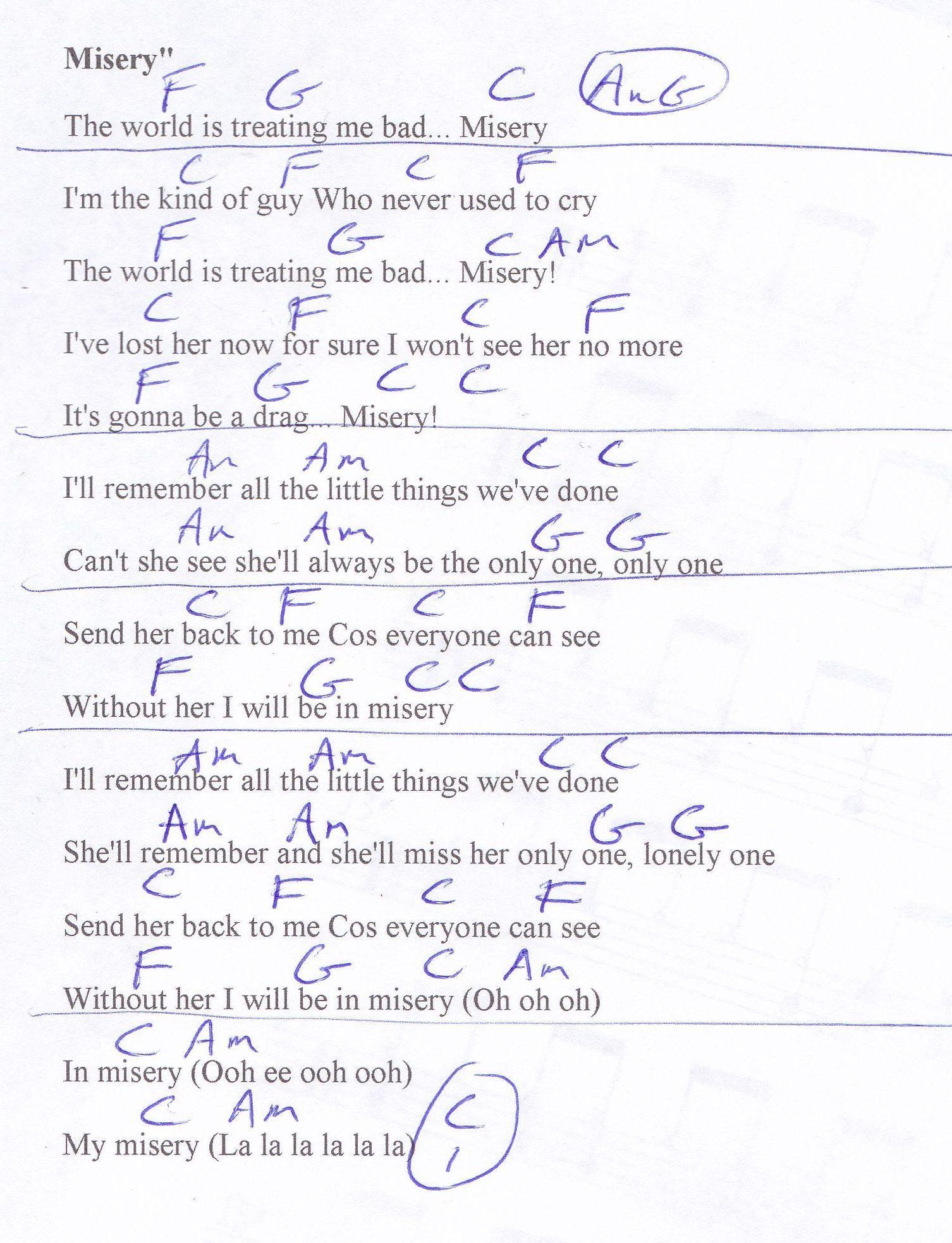 Misery Beatles Guitar Chord Chart Learn The Ukulele Pinterest