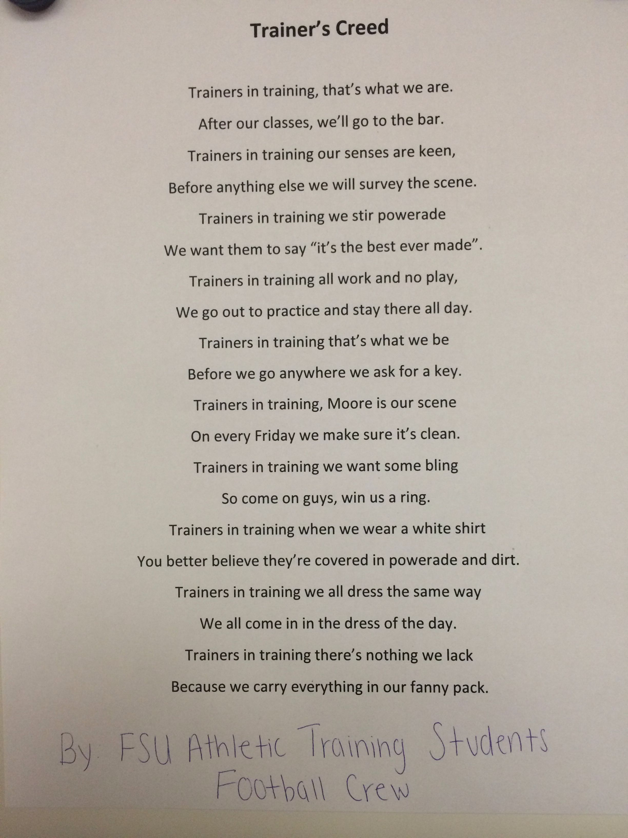 Athletic Trainers Creed! If you are an ATS you can relate to this ...