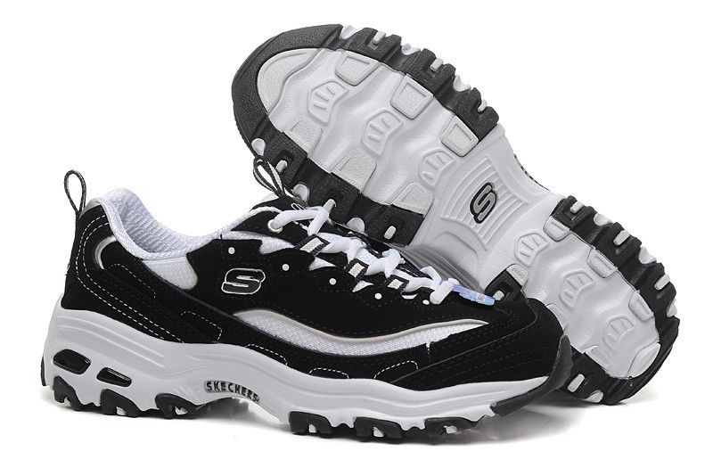 Skechers D Lite Biggest Fan Mens Running Shoes Black White