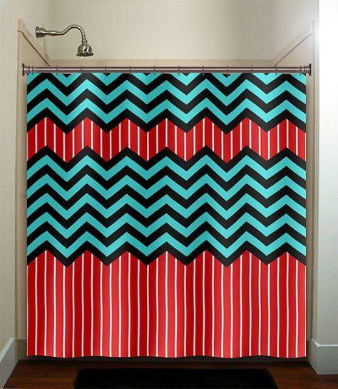 Red Stripe Aqua Blue Chevron Shower Curtain Bathroom Decor Fabric Kids Bath White Black Custom Duvet Cover Rug Mat Window