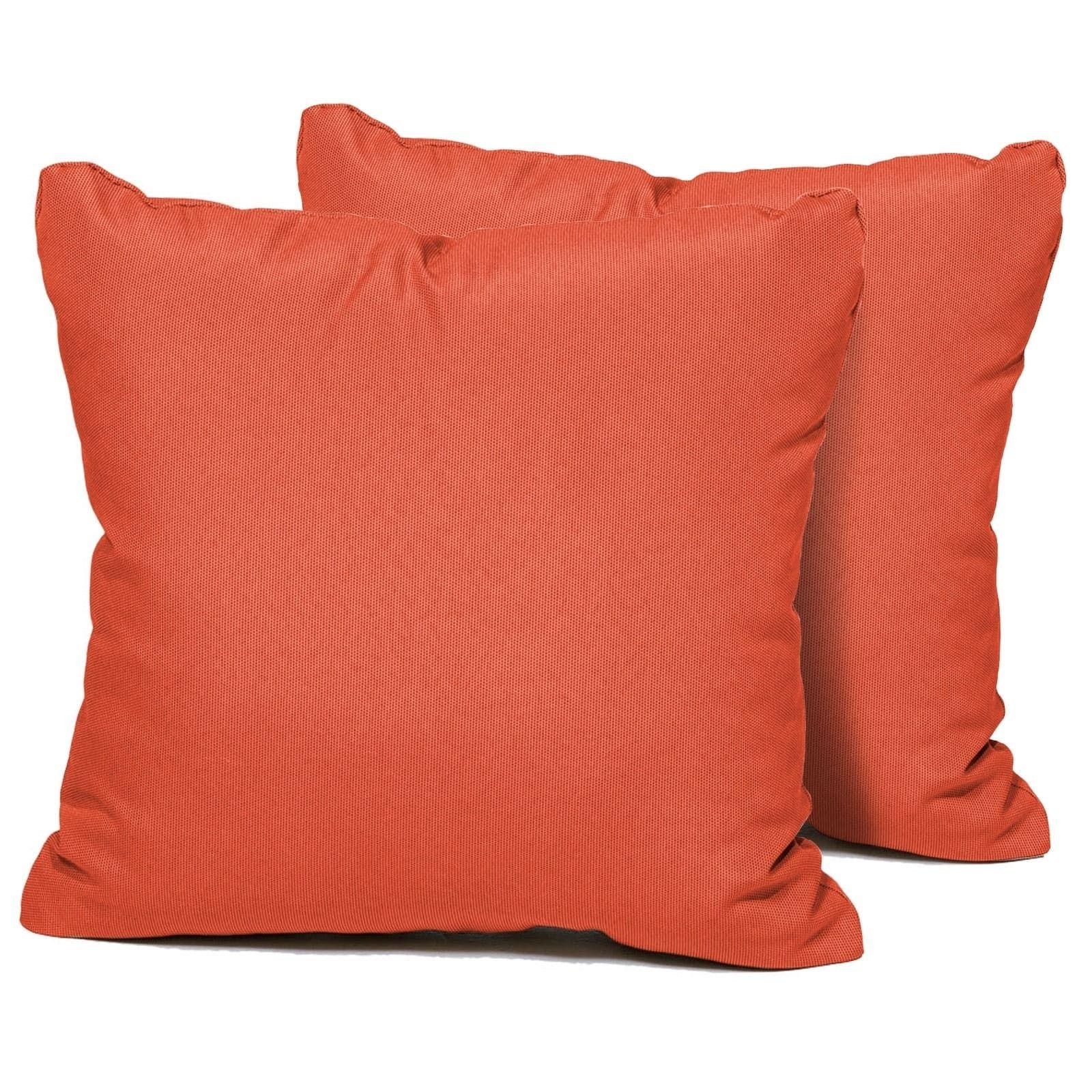 Tangerine Outdoor Throw Pillows Square Set Of 2 Orange Tk Classics