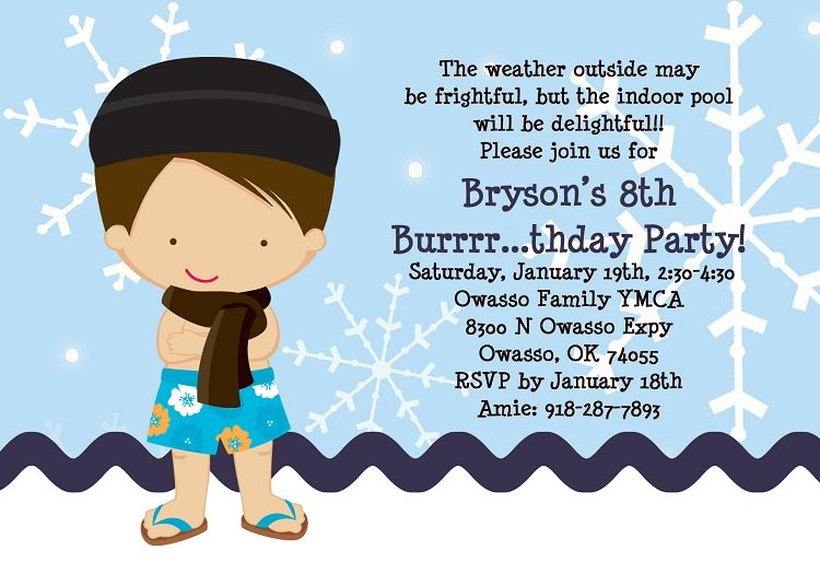 winter pool party | home kids party invitations pool party winter ...