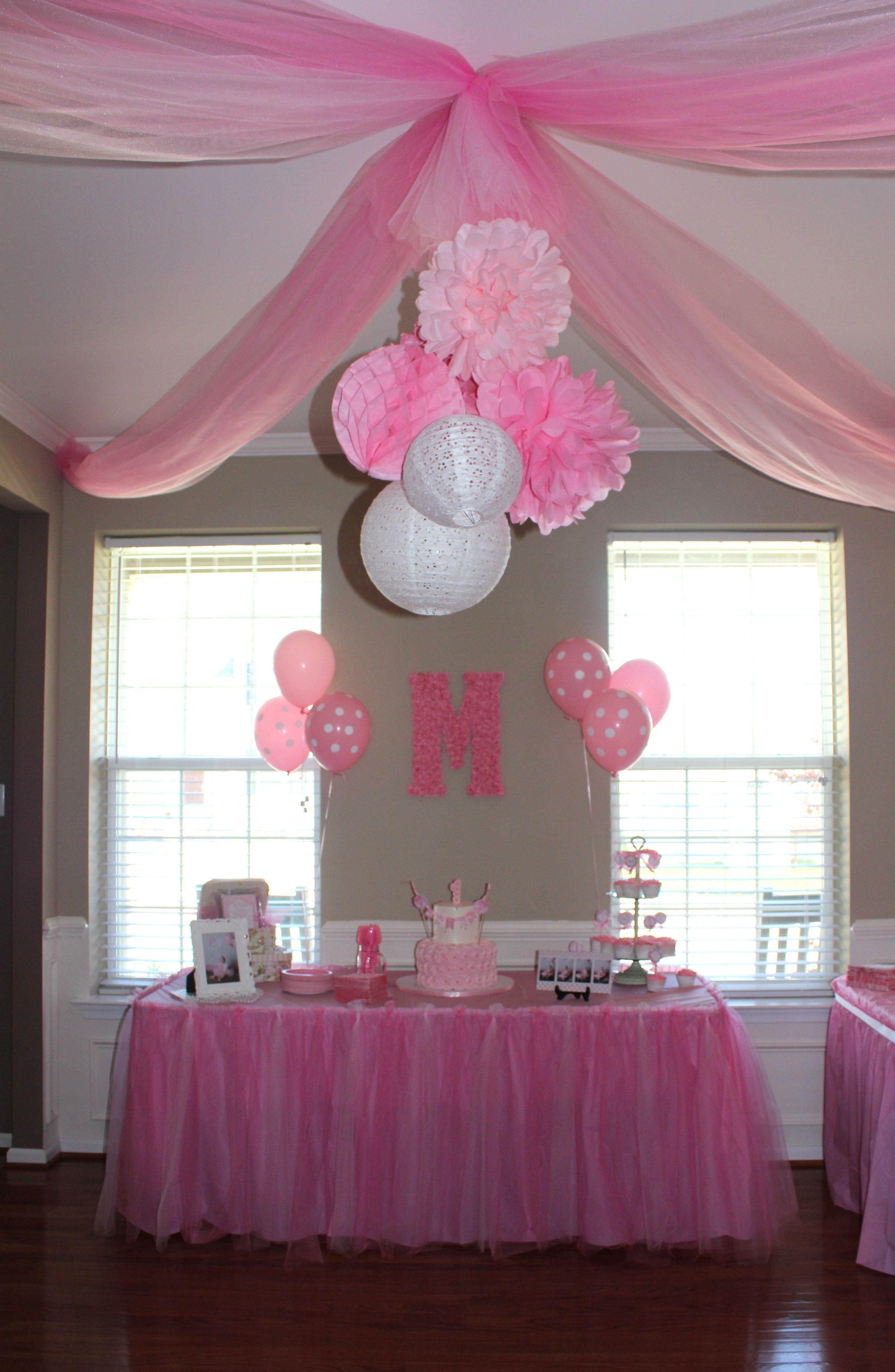 Pink Party 3 Tissue Paper Pom Poms 3 Paper Lanterns