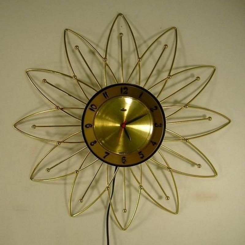 Sunburst Wall Clock Clock Mid Century Clock