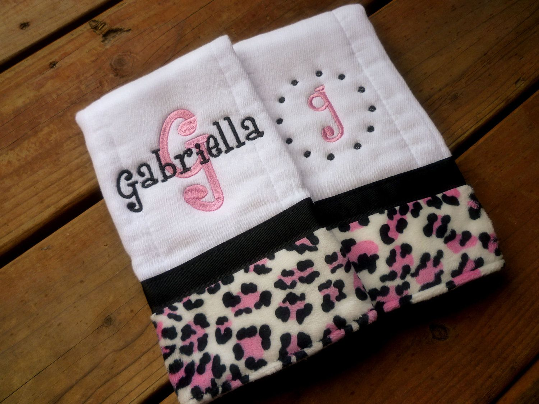 b2c8f7568a Personalized Burp cloth set- hot pink and black leopard print minky- baby  burp cloth prefold diaper.  18.00