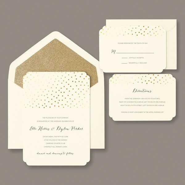 Invitations Gold Glitter Foil Dot Invitation Kit 30 for 40