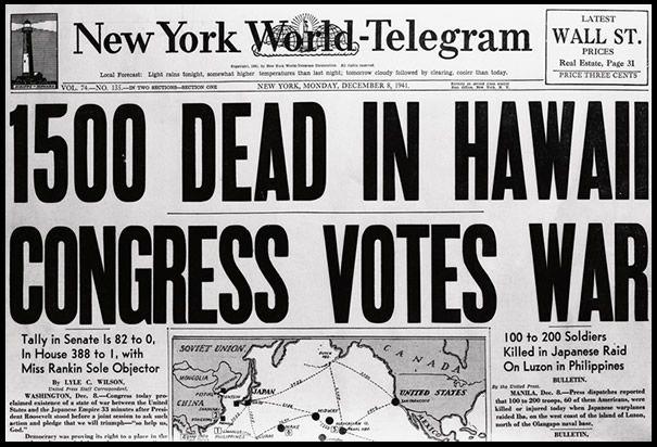 New York Times Newspaper Headlines   Newspaper Headline After Pearl Harbor Attacks