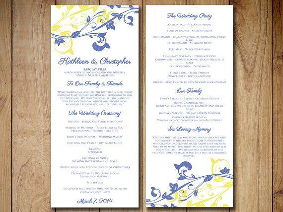 wedding program template download