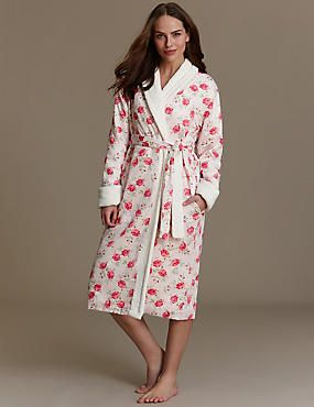 shop for authentic marketable top-rated cheap Pure Cotton Floral Cosy Towelling Dressing Gown | bathrobes ...