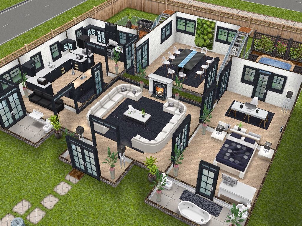 House 75 remodelled player designed house ground level for Sims 2 house designs floor plans