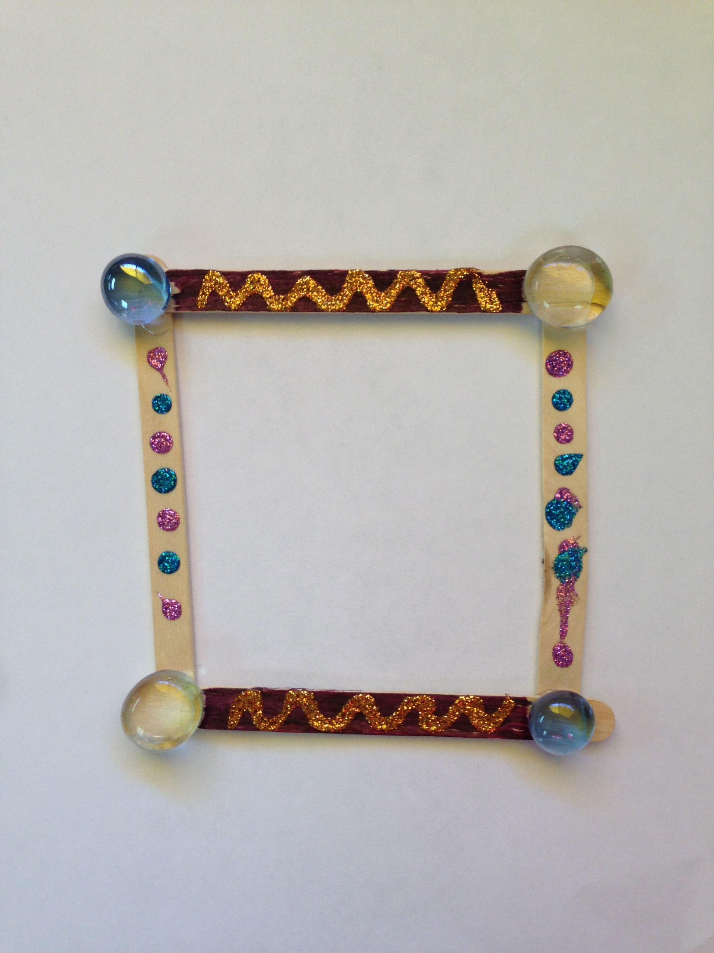 Mother\'s Day craft picture frame. Popsicle sticks, glitter, and ...