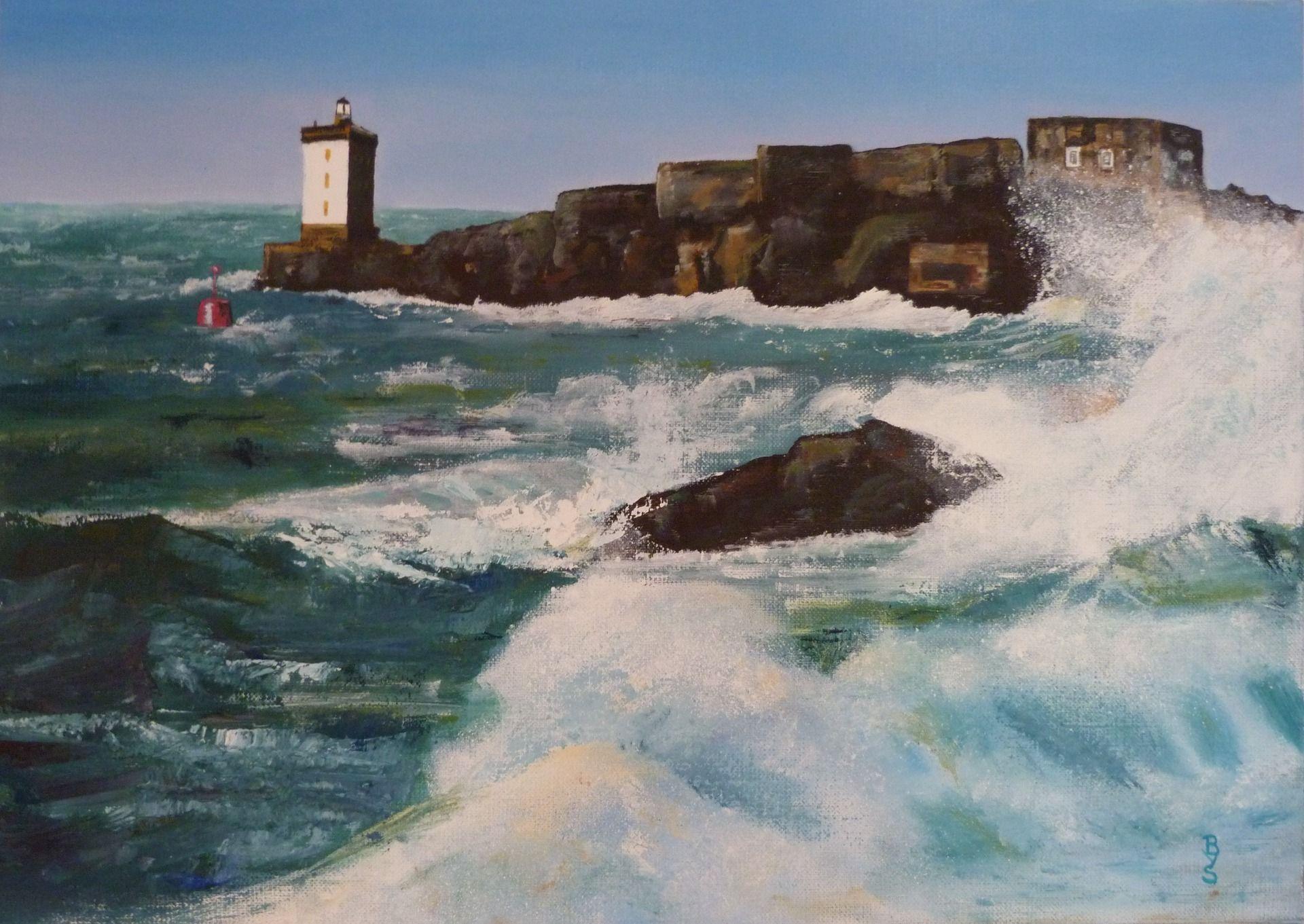 Très Peinture à l'huile - mer déchainée - phare et rocher : Peintures  ZT37
