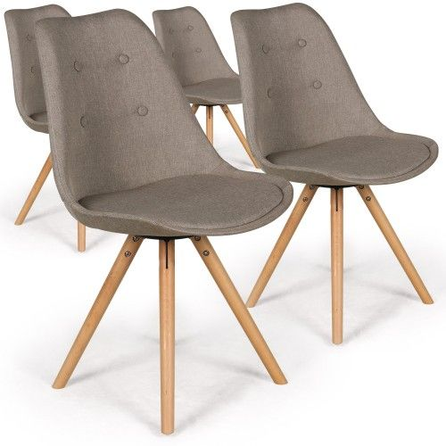 lot de 4 chaises scandinaves goya tissu beige - Chaise Scandinave Beige