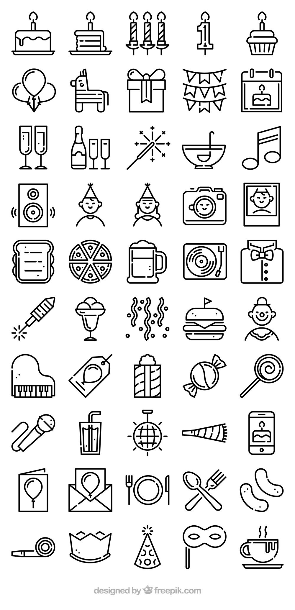 50 premium vector icons of Birthday Party designed by