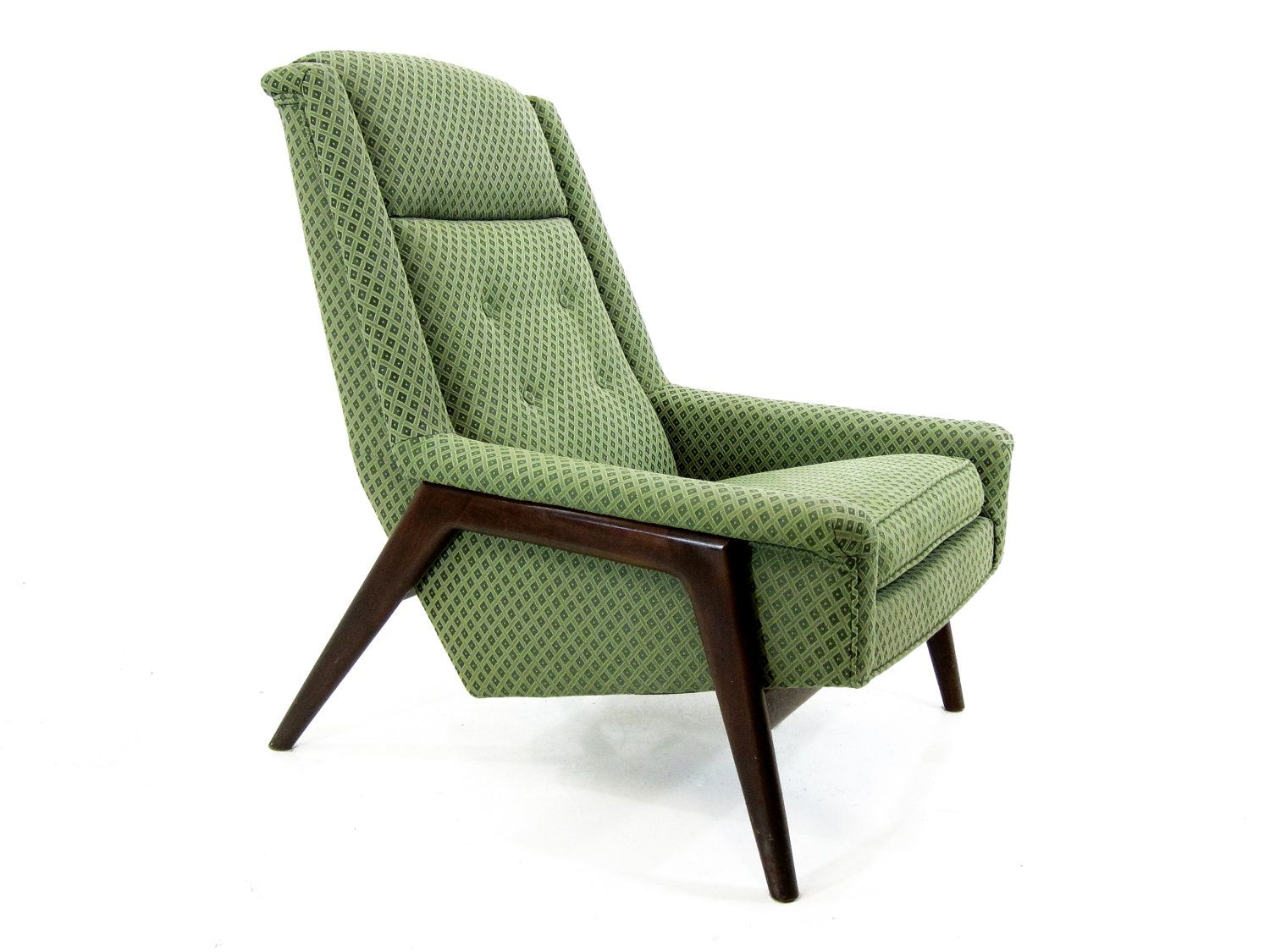 danish modern lounge chair, green on walnut - black friday etsy