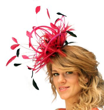 Large Purple /& Red Fascinator Hat//change or add extra colours satin and feathers