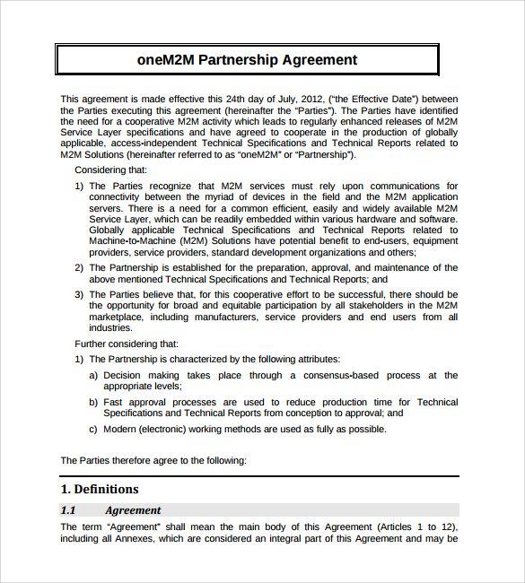 Partnership Agreement Template Partnership Agreement Template Us