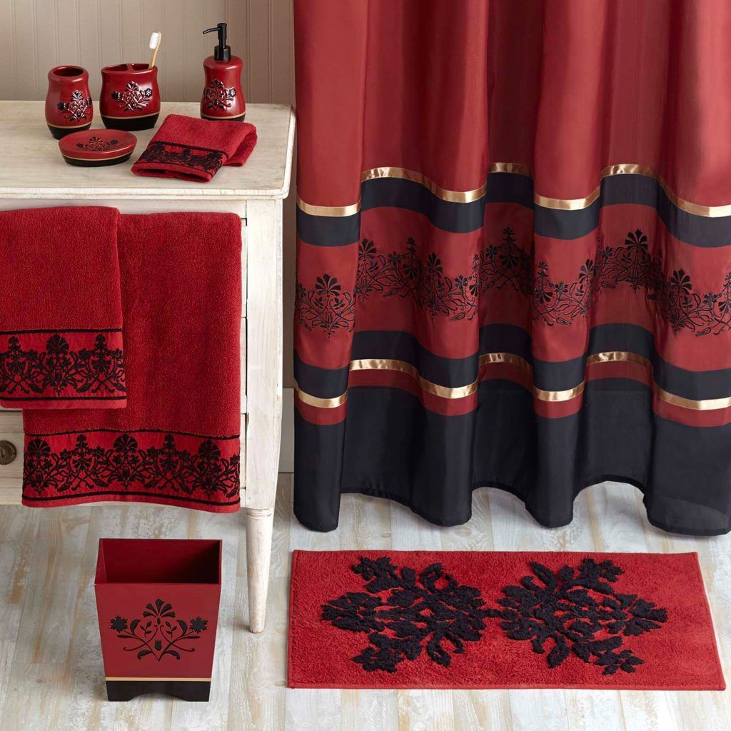 Red And Black Shower Curtain Set Black And Red Shower Curtains Dream Bathroom In 2019 Red