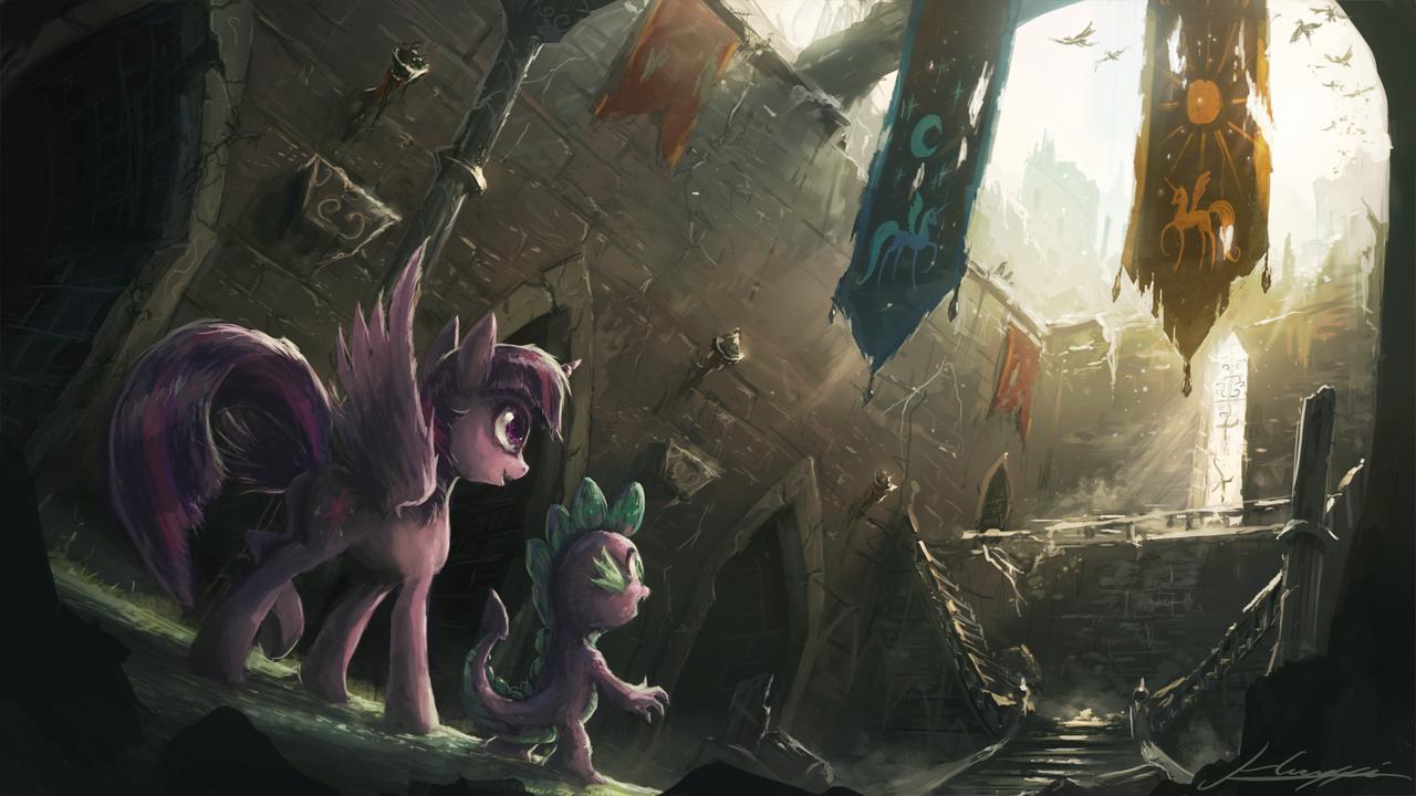Dark Detailed Epic Princess Twilight Ruins Safe Spike Sparkle Wallpaper