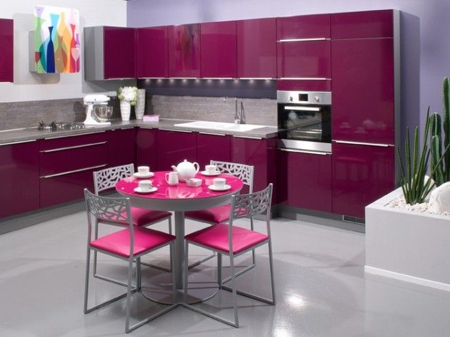 Cuisine Girly De Couleur Aubergine  PinkPurple Kitchens