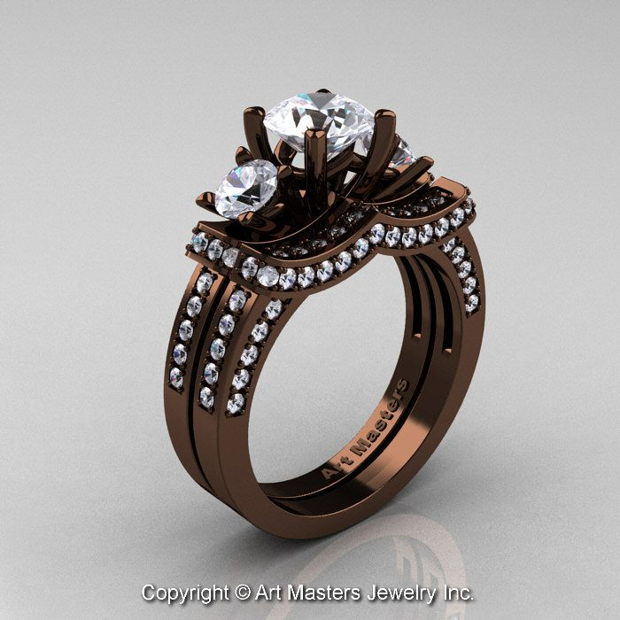 Exclusive French 14K Chocolate Brown Gold Three Stone White Sapphire Engagement  Ring Wedding Band Set R182S Idea