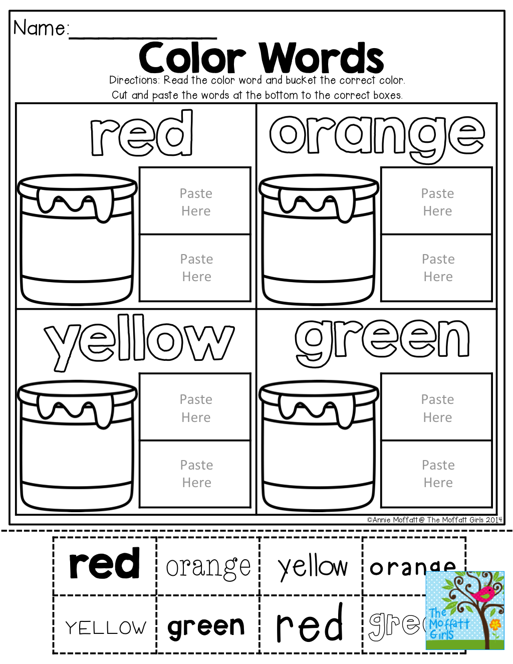 Color Words Cut And Paste Tons Of Back To School Printables