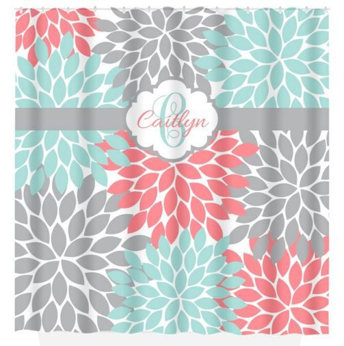 SHOWER CURTAIN Custom MONOGRAM Personalized Bathroom Decor Flower Burst Pattern Coral Aqua Gray Beach Towel Plush