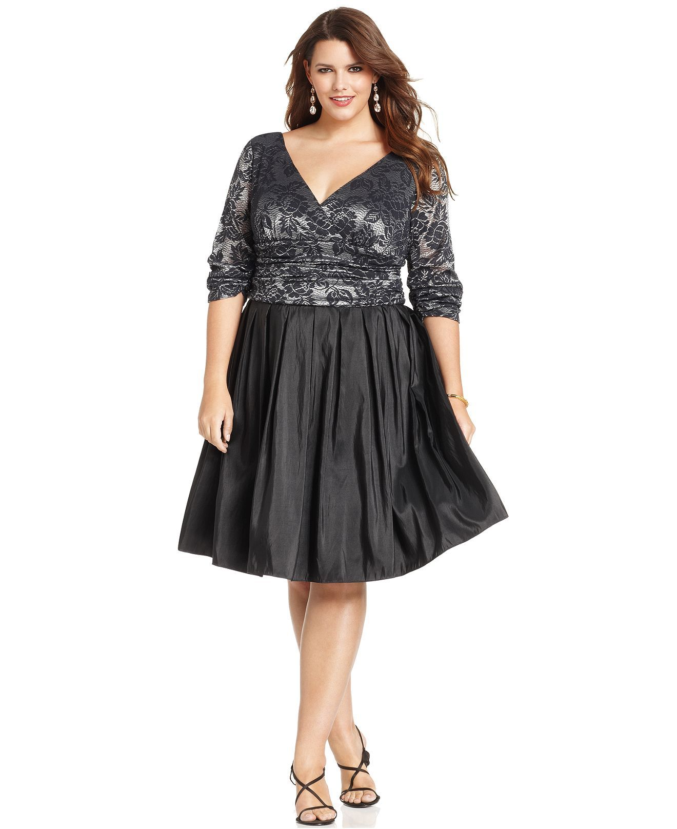 sl fashions plus size dress, three-quarter-sleeve metallic lace a