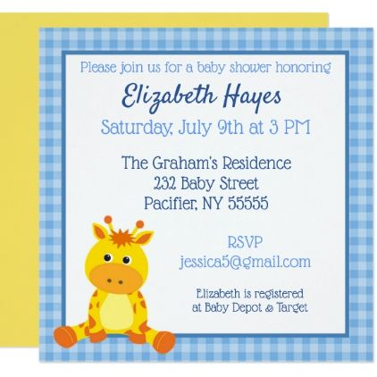 Blue Giraffe Baby Shower Invitation Shower Invitations   Baby Shower  Templates For Word  Baby Shower Template Word