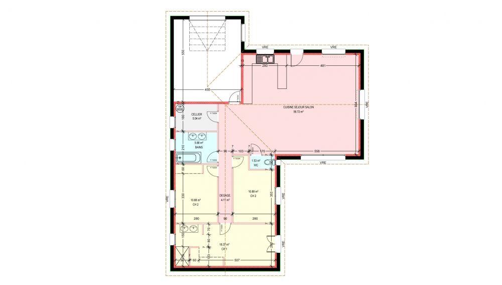 Maisons plain pied 3 chambres de 114 m² construite par Demeures - maisons plain pied plans gratuits