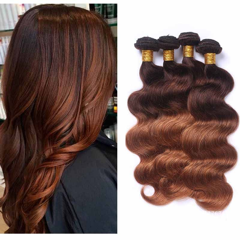 Peruvian Ombre Hair Extension Two Tone 4/30 Body Wave