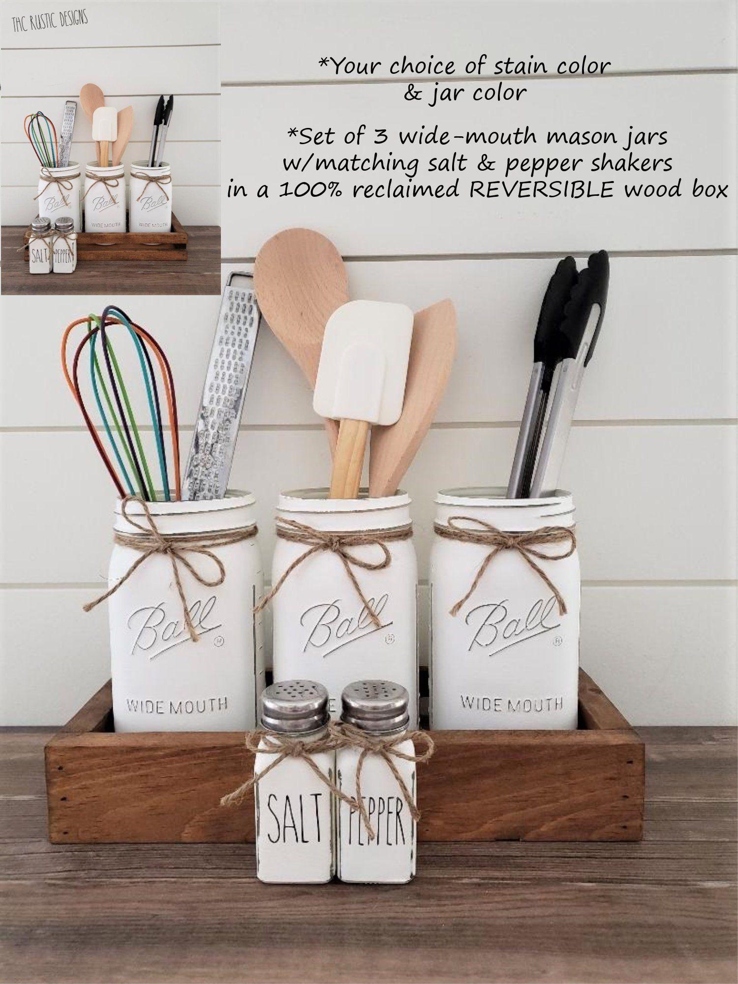 kitchen utensil holder mason jar utensil holder in a box rae dunn salt pepper shakers on farmhouse kitchen utensils id=46314