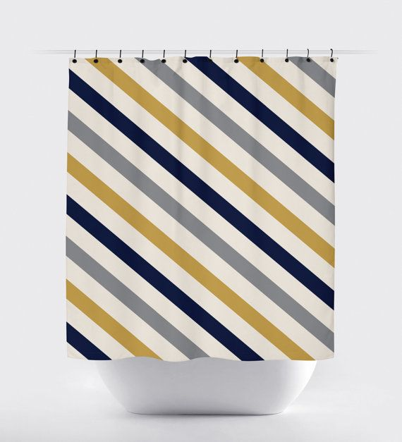 Navy And Mustard Yellow Gray Shower Curtain Stripes Gray Shower