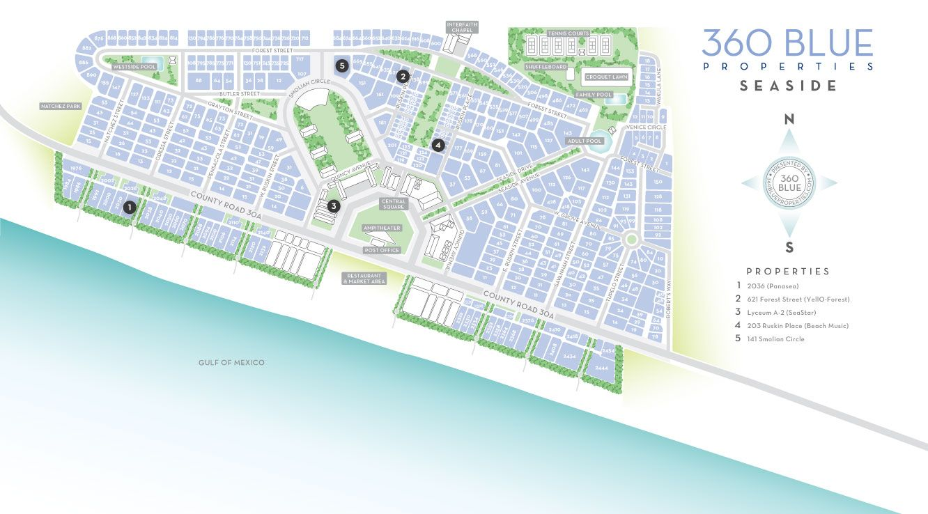 Map Of Seaside Florida.Seaside Florida Map 30a Sowal South Walton Beaches Vacation 30 A Fl