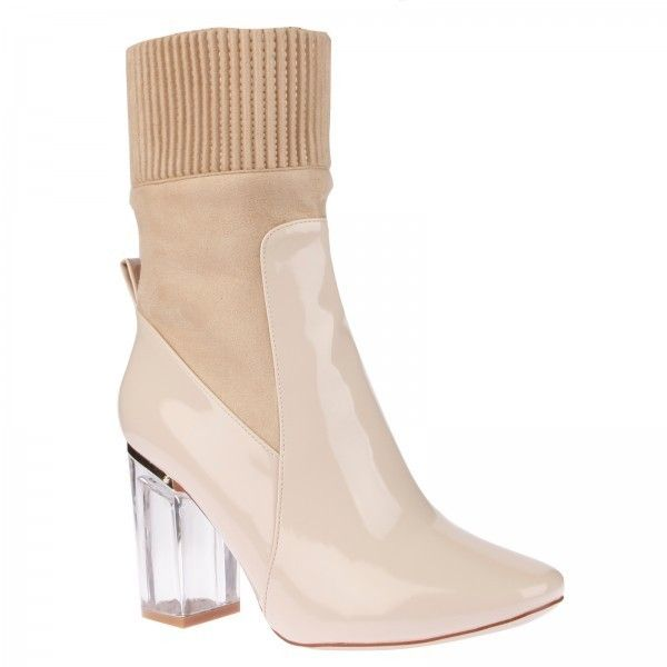 3a9e2c2c14b Thea High Ankle Boot In Nude Patent ($50) ❤ liked on Polyvore ...