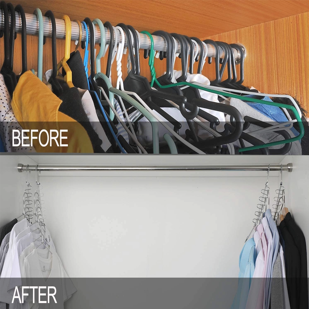 Space Saving Cloth Hanger -   18 DIY Clothes Storage life changing ideas