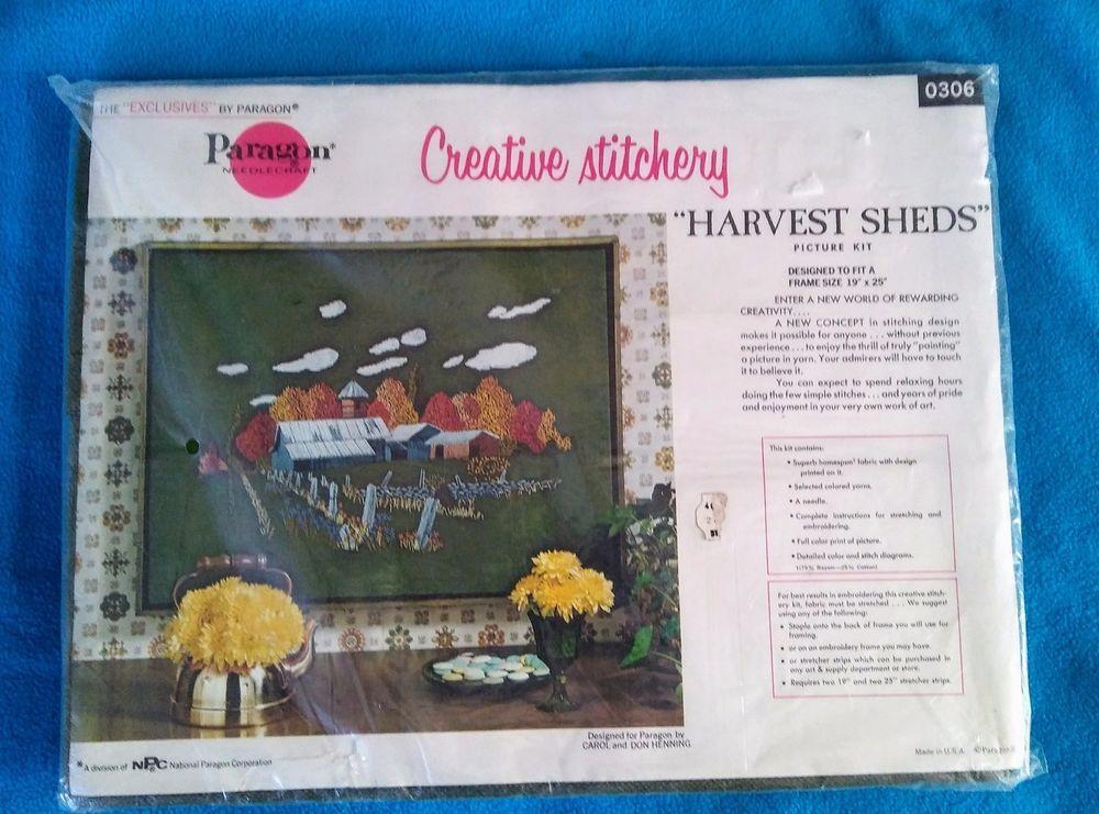 Vtg Paragon Creative Crewel Stitchery Kit 0306 HARVEST SHEDS Crewel ...