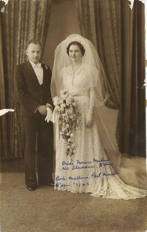 Wedding portrait of Bob Mullins & Noreen Sladden, Hughenden, 1940