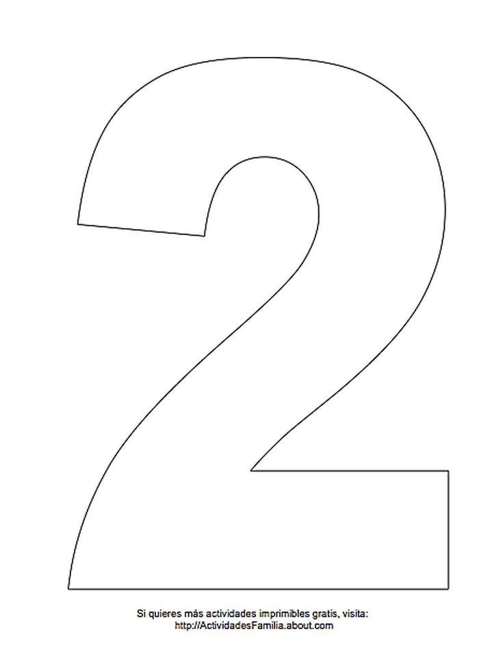 Dibujos De Números Para Colorear Número 2 Para Colorear Cumple