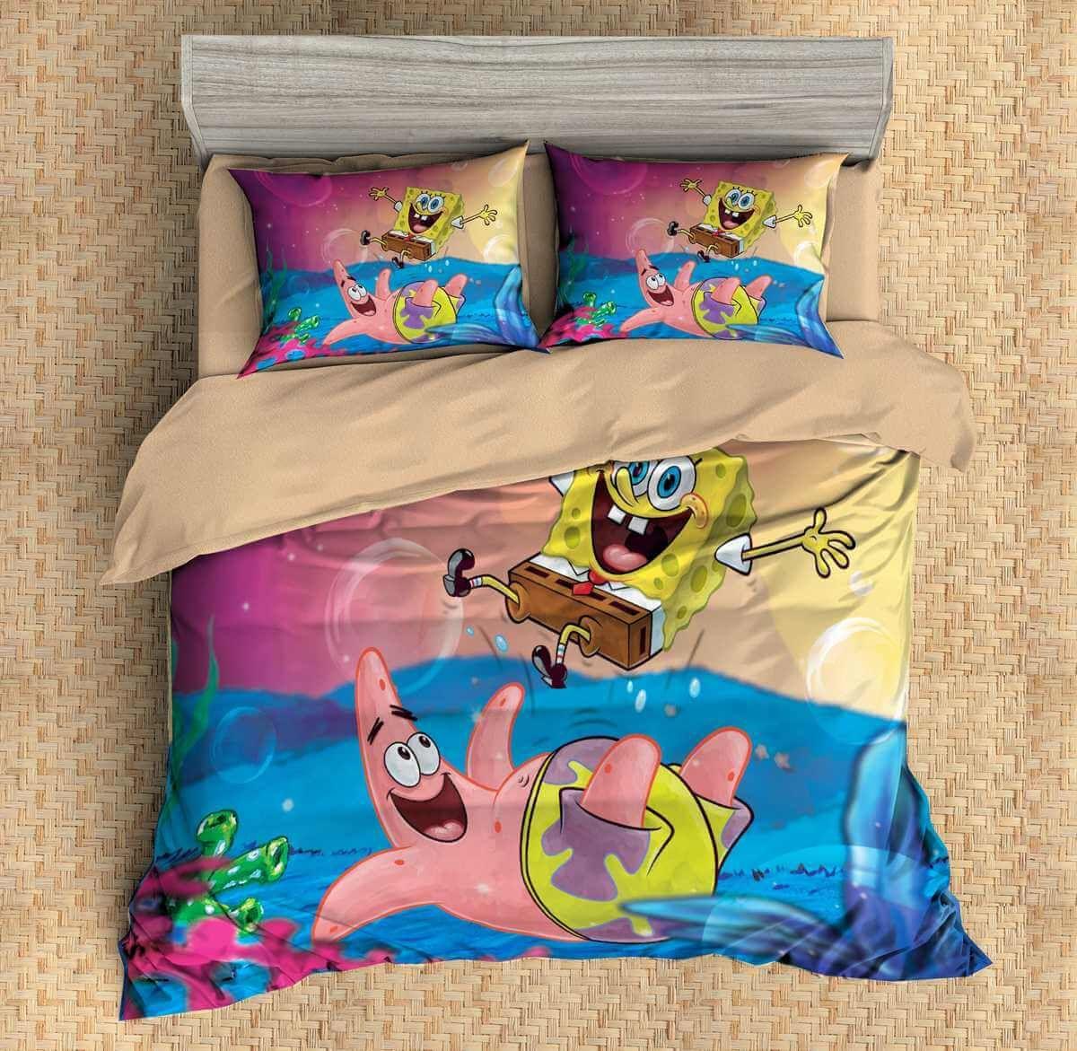Customize Spongebob Squarepants Bedding Set Duvet Cover Bedroom Bedlinen 1 100