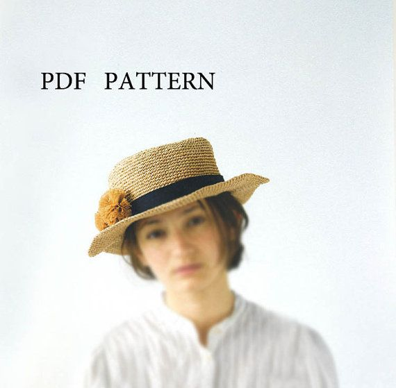 Pdf download crochet pattern,summer straw raffia hat pattern ...