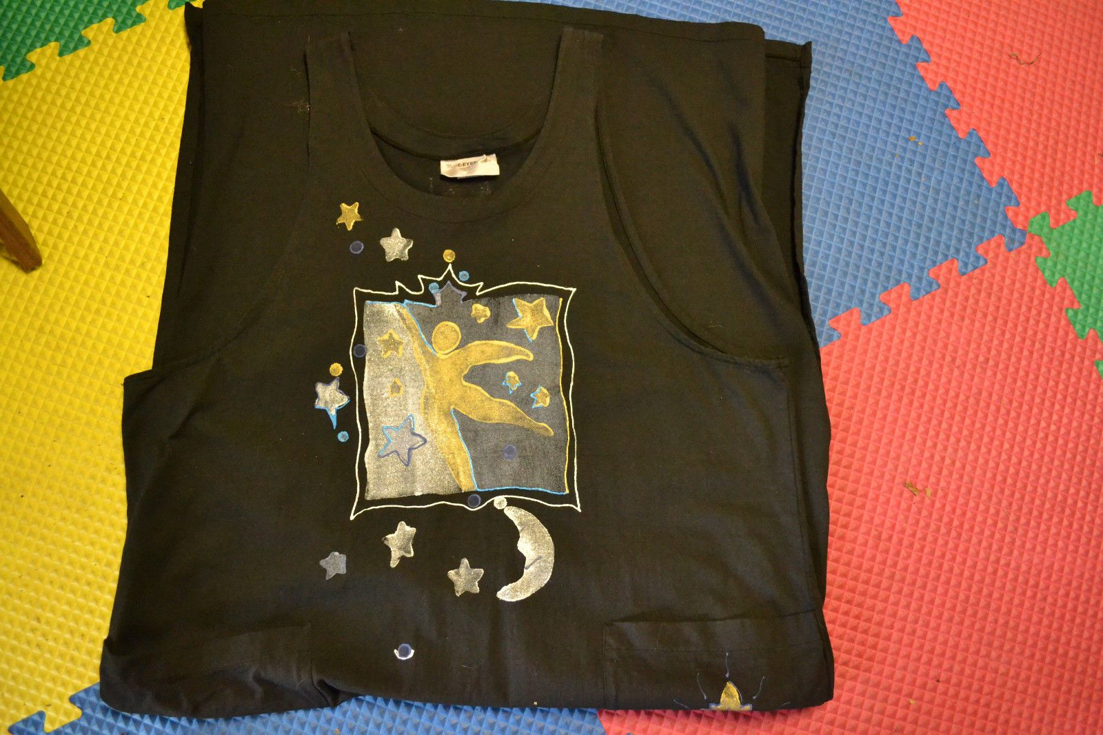 Blue Eyed Bear clothing is so rarely found; this one is an ankle length sleeveless black painted jumper.
