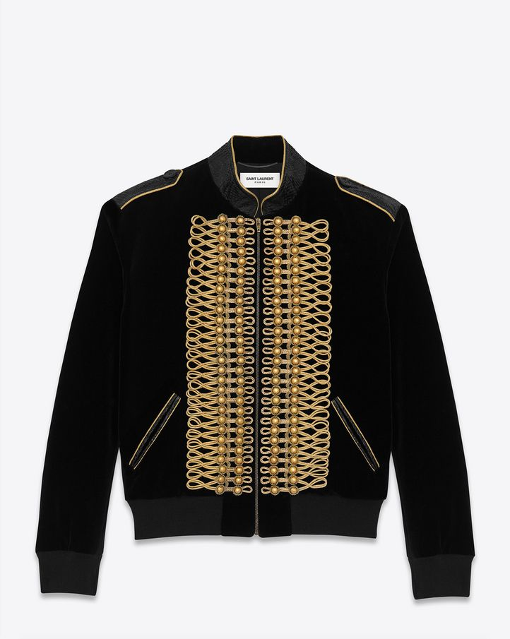 Saint Laurent Officer Baseball Jacket With Salmon Skin Trimmed ...