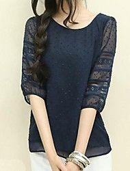 Women's Round Collar Plus Sizes  ½ Length Sleeve  T-shirt